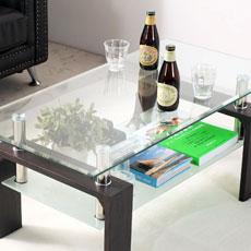 ガラスリビングテーブル