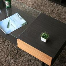 棚付きガラステーブル
