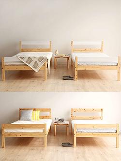 国産二段ベッド、2台分割